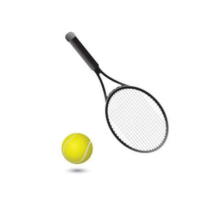 Tennis ball and tennis racket on a white background. vector Stock Photo - 5362913
