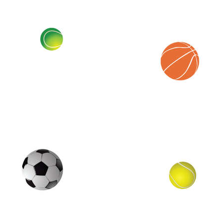 Tennis, football and basketball balls on a white background. vector Stock Photo - 5362915