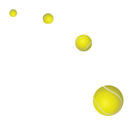 Four yellow tennis balls on a white background. vector Stock Photo - 5362916