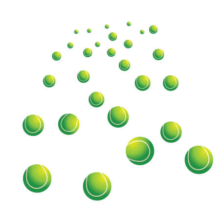 Much green tennis balls on a white background. vector photo