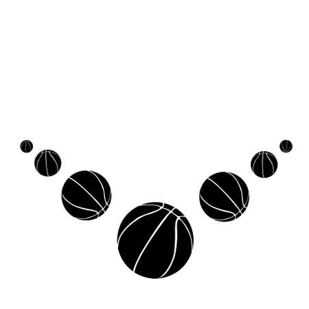 Seven black basketball balls on a white background. vector photo