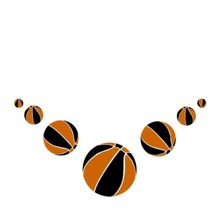 Seven basketball balls on a white background. vector photo