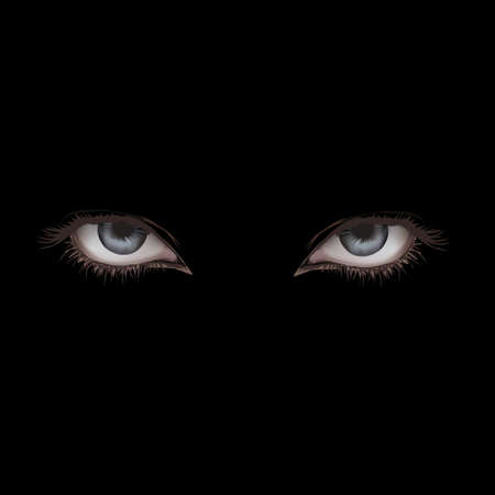 Two human eyes on a black background.Vector photo
