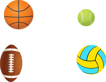 Tennis, football, basketball and volleyball balls on a white background. vector photo