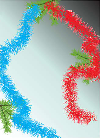 Fur-tree branch and tinsel on a blue background.Vector photo