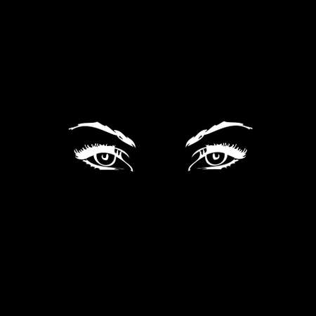 Human eyes on a black background.vector photo