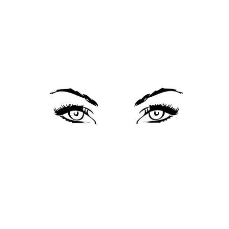 Human eyes on a white background.Vector photo