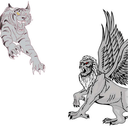 Jumping tiger and griffin on a white background.Vector photo