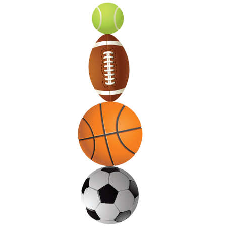 Football, volleyball, tennis and Rugby football balls on a white background.Vector photo
