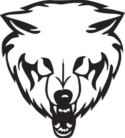 dog sled: Head of a wolf on a white background.Vector illustration