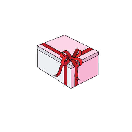Celebratory box with a red bow on a white background.Vector photo