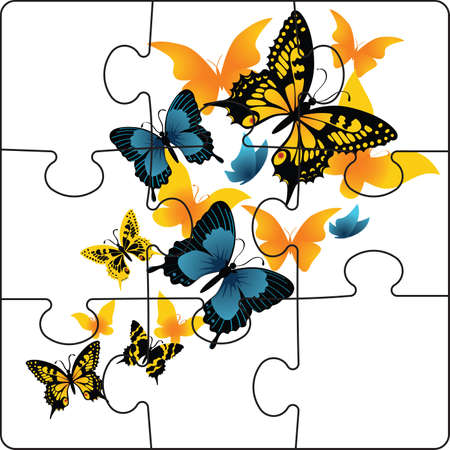 Puzzle from butterflies on a white background. photo