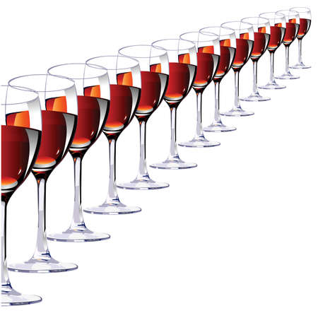 thirteen: Thirteen glasses with red wine on a white background.