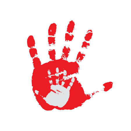 hand print: Hand print on a white background. Stock Photo