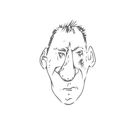 Mans face caricature on a white background.  photo