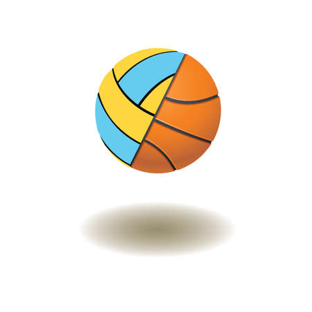 The connected volleyball and basketball balls on a white background.  photo