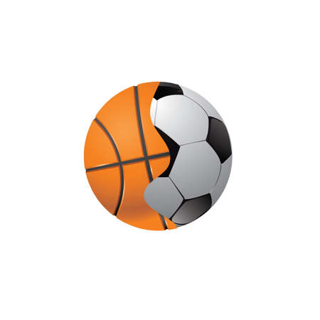 The connected football and basketball balls on a white background.  photo