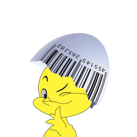 Bar code on an egg-shell and a chicken on a white background.  photo
