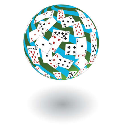3d a sphere from playing cards on a white background. Stock Photo - 7620987
