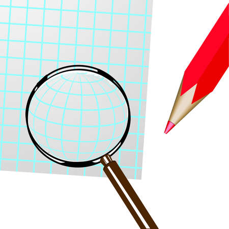 Magnifier, pencil and sheet of paper on a white background. photo