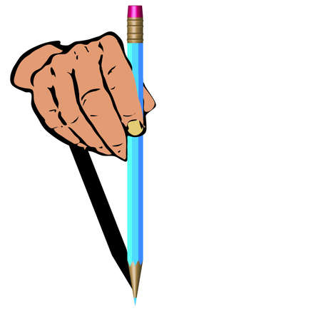 Mans hand and dark blue pencil on a white background.Vector photo