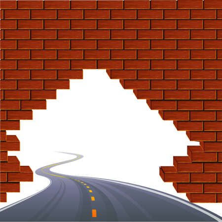 The asphalted road passing through a wall.illustration illustration