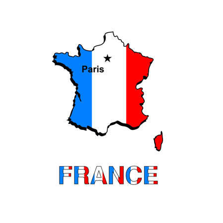 France map in the form of the French flag on a white background. Stock Photo - 8036811