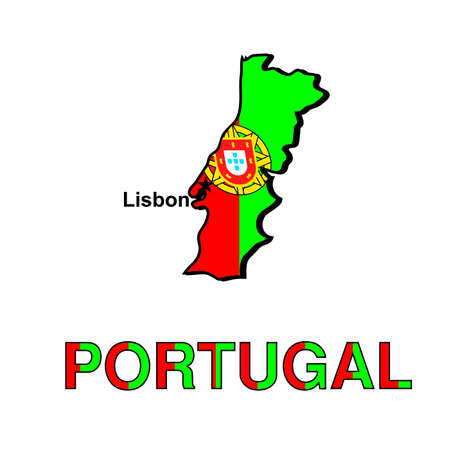 Card of Portugal in the form of the Portuguese flag on a white background.  photo
