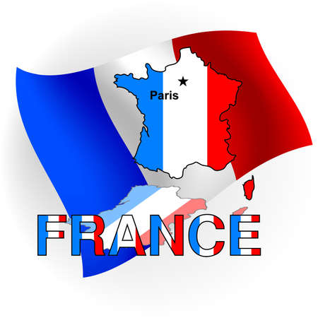 France map in the form of the French flag against a flag.  photo