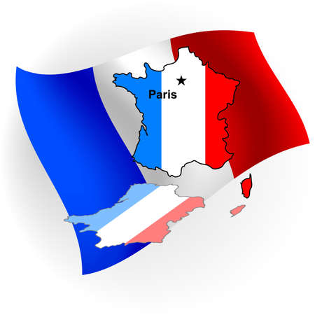 France map in the form of the French flag against a flag. Stock Photo - 8036817