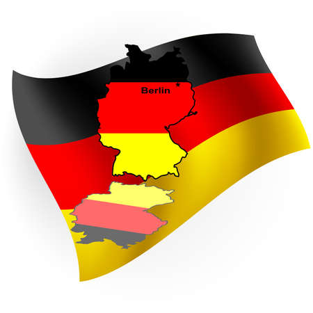 Germany map in the form of the German flag against a flag.  photo