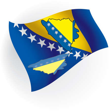 Cards Bosnia and Herzegovina in the form of flag Bosnia and Herzegovina against national colors.  photo