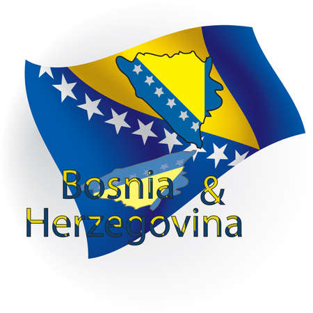 Cards Bosnia and Herzegovina in the form of flag Bosnia and Herzegovina against national colors. illustration Stock Illustration - 8036831