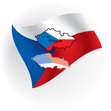 czechia: Czechia maps in the form of the Czech flag against national colors.