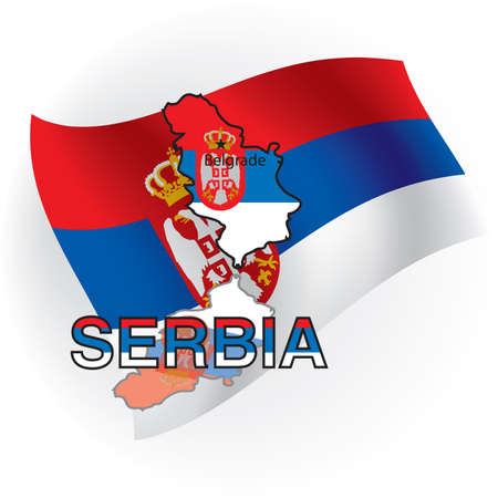 Cards of Serbia in the form of the Serbian flag against national colors. Stock Photo - 8036830