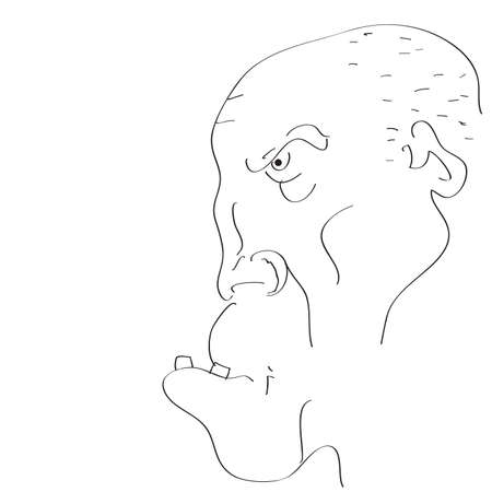 Mans face caricature on a white background. Vector photo