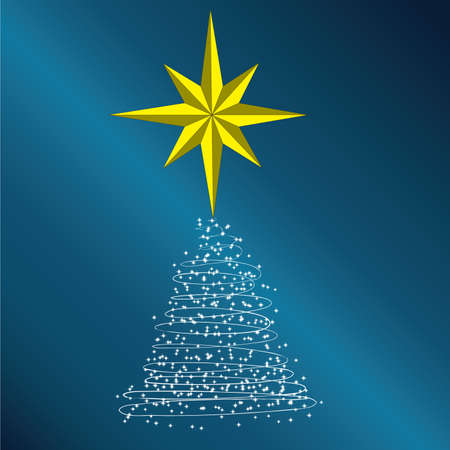 New Year tree consisting of stars on a dark blue background  photo