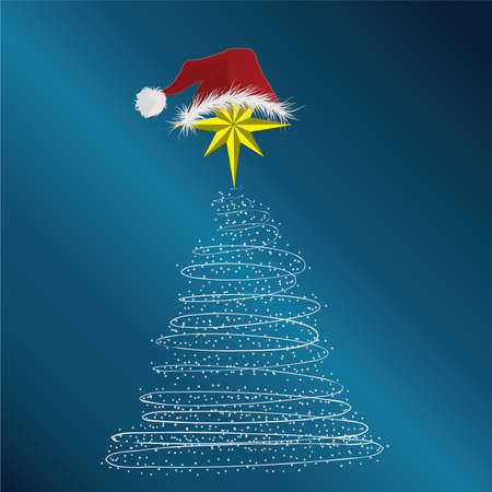 New Year tree consisting of stars and a New Years cap on a dark blue background.Vector photo