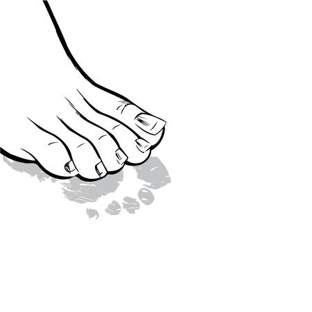 barefoot walking: Human foot and its print on a white background