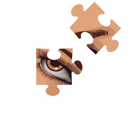 Fragments of a puzzle with a human eye on a white background Vector