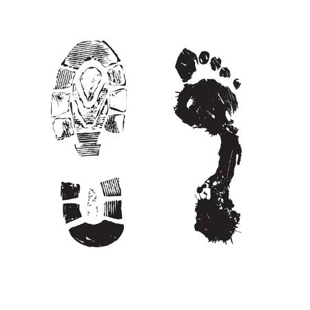 Druck eines menschlichen Stiefels und Fußes auf einem weißen Hintergrund.
