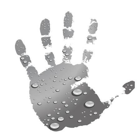 Las gotas de agua en la palma de la mano de impresión. Sobre un fondo blanco.