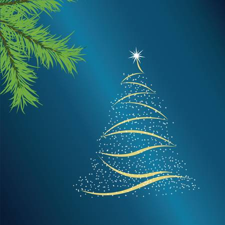 New Year tree consisting of stars on a dark blue background.Vector Vector