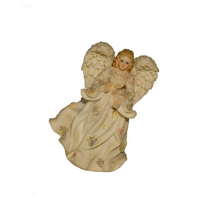 Porcelain figurine. The girl an angel on a white background photo