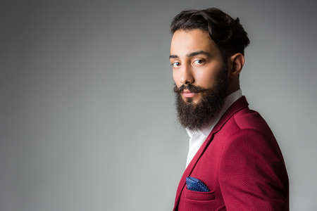 man in suite: Elegant Stylish Man with Beard and Mustache wearing stylish suites in front of a gray studio background Stock Photo