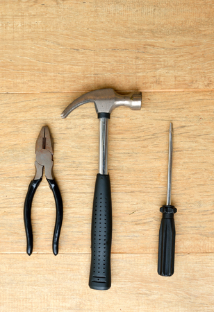 screw driver: Tools - Hammer, Screw Driver and Pliers Stock Photo