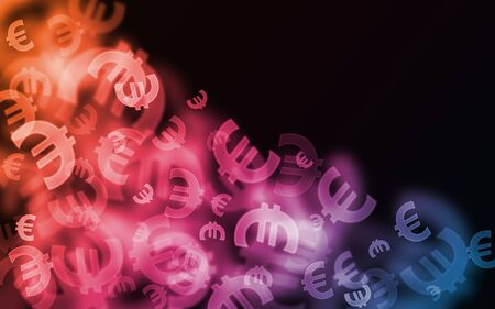 Sparkly muliticolor vibrant euro currency symbol bokehs on beautiful background. Good for design and  financial use.