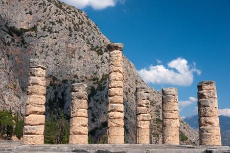 Ruins of the temple of Apollo at Delphi, Greece photo