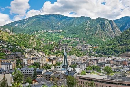 tourism in andorra: Aerial view of the Andorra la Vella, Andorra