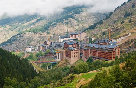Soldeu city during fog, Andorra Stock Photo